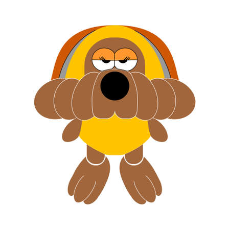 snugly: The little soft toy dog. Vector illustration.
