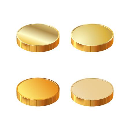 signo de pesos: Una pila de monedas de oro redondas. Ilustración del vector.