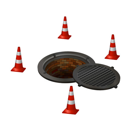 cesspool: open hatch with four cones. Vector illustration.