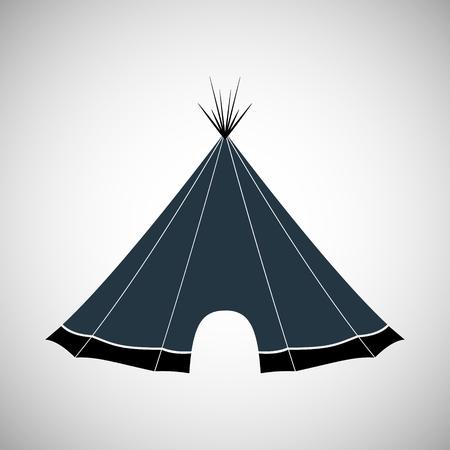インディアンの間で住んでいる枝、皮革、樹皮の作った小屋。ベクトルの図。  イラスト・ベクター素材
