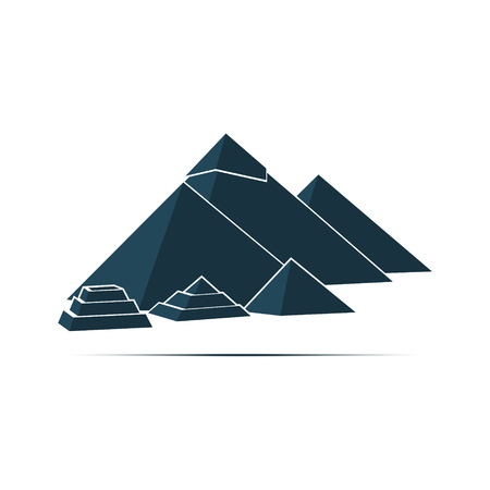 Five Egyptian pyramids conical shape. Vector illustration.