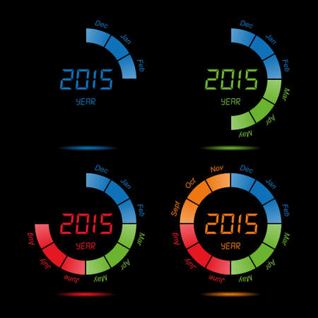the turn of the year: Calendar of seasons by month. Vector illustration. Illustration