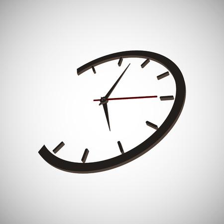 black pictogram: Round wall clock mechanically arrow. Vector illustration.