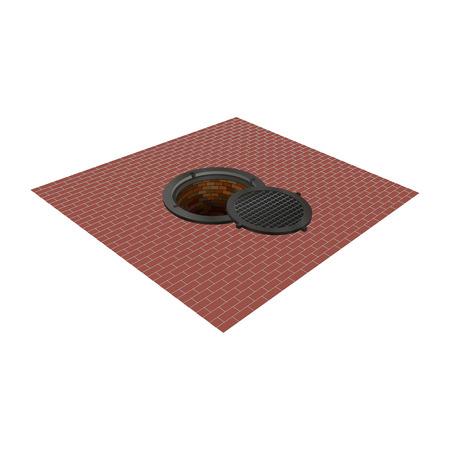 Open the hatch on the pavement. Vector illustration. Illustration