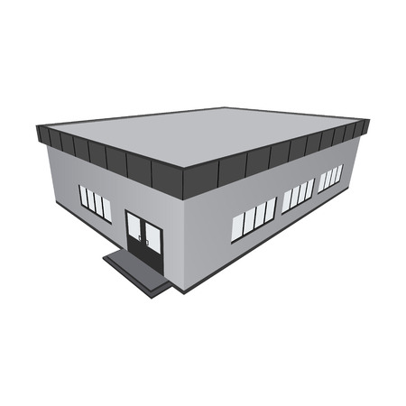 storey: Storey store with a straight roof. Vector illustration.