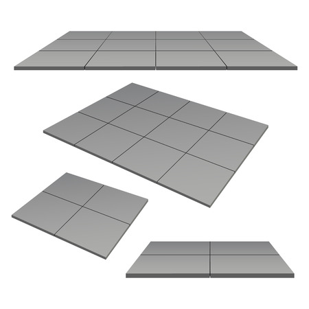 color photo: outdoor square tiles gray color.  Photo illustration.