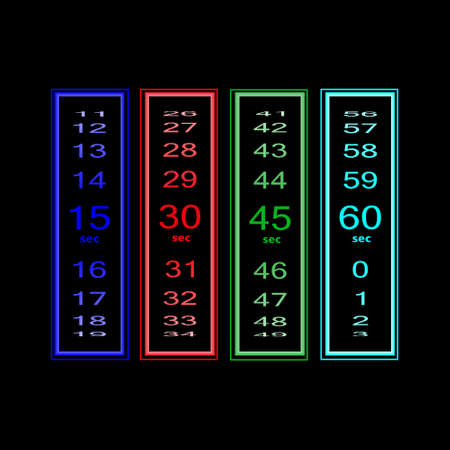 ranges: Seconds count in different ranges of time. Photo illustration. Stock Photo