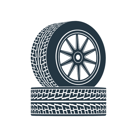 traction: Two wheels with tires and wheels. Photo illustration. Stock Photo