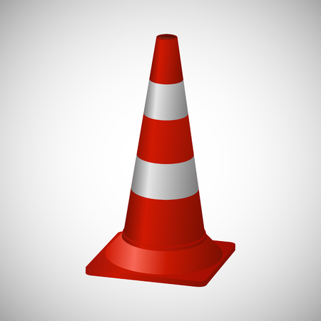 on temporary: Cone for temporary road markings. Photo illustration. Stock Photo