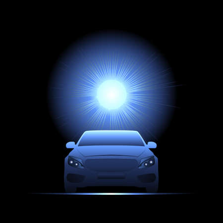 hosszú expozíció: Passenger car illuminated by bright light. Vector illustration. Illusztráció