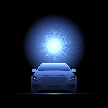 Passenger car illuminated by bright light. Vector illustration. Illustration