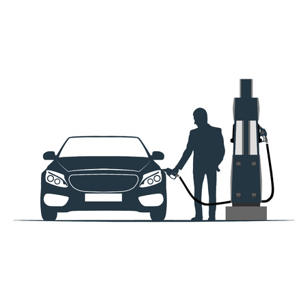 fuelling pump: The car is recharged at the gas station. Vector illustration.