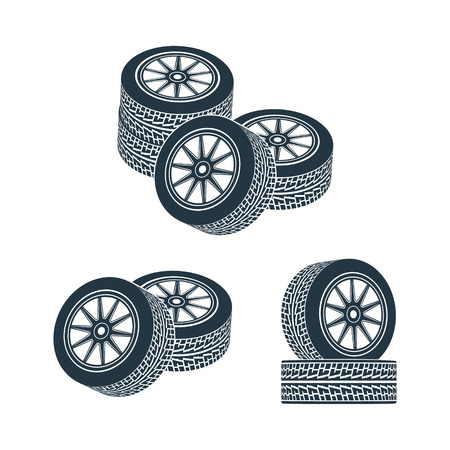 alloy wheel: Two wheels with tires and wheels. Vector illustration.