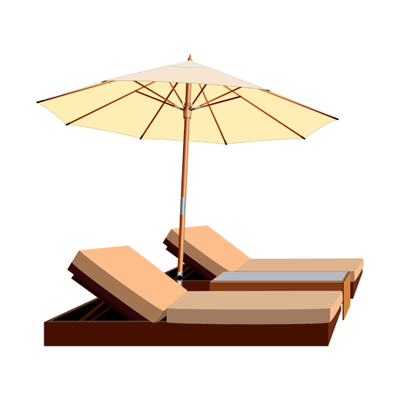 Two loungers covered with an umbrella. Photo illustration.