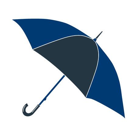 april showers: Icon blue petals round umbrella. Photo illustration.