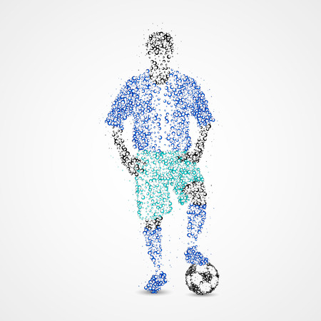 football fan: Football player with the ball circles. Vector illustration.