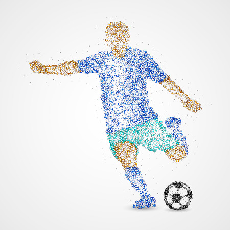 soccer field: Football player with the ball circles. Photo illustration. Stock Photo