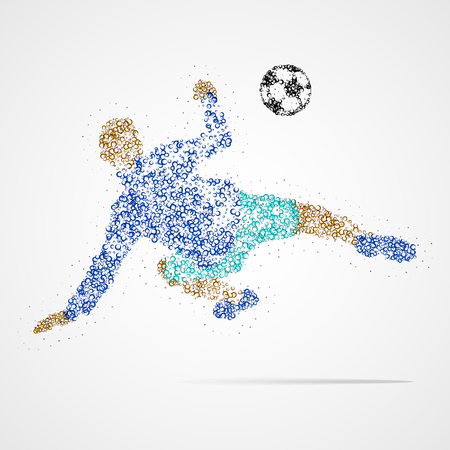 soccer field: Football player with the ball circles. Vector illustration.