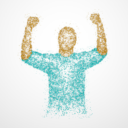 lucky man: Abstract successful man from circles. illustration. Stock Photo