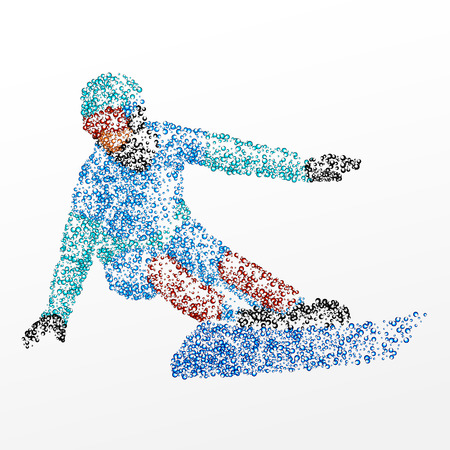 action sports: Abstract snowboarder of the circles.