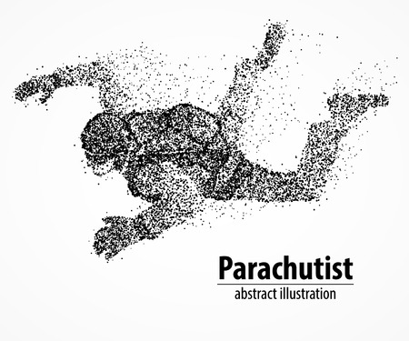 extreme sports: Abstract parachutist from black circles. Vector illustration.