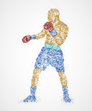single man: Abstract boxer from multicolored circles. Photo illustration.