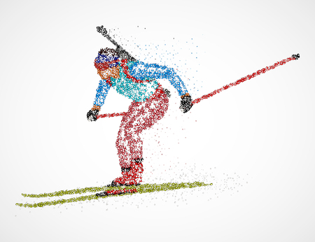 Abstract biathlete of colorful circles. Photo illustration.