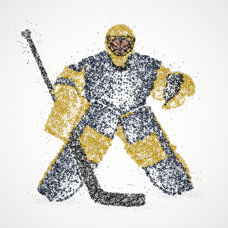 goalie: Abstract hockey goalie of colorful circles. Illustration