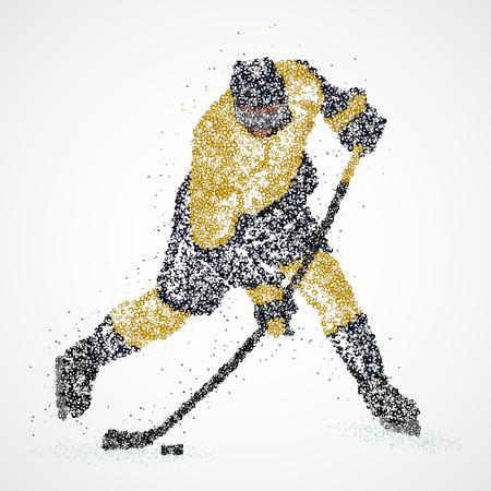 Abstract hockey player of colorful circles. 일러스트
