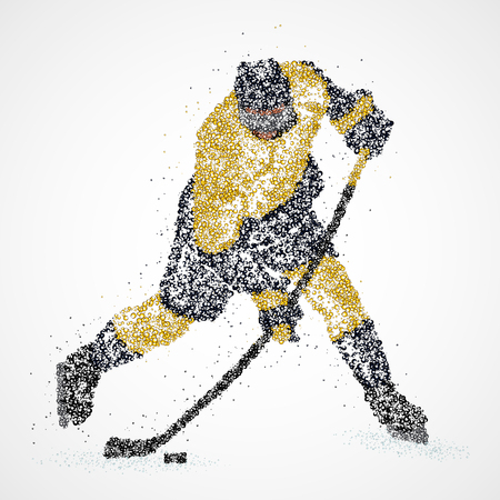 Abstract hockey player of colorful circles. Illustration