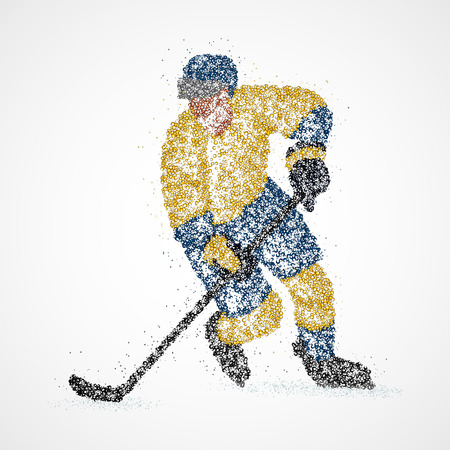 hockey player: Abstract hockey player of colorful circles. Illustration