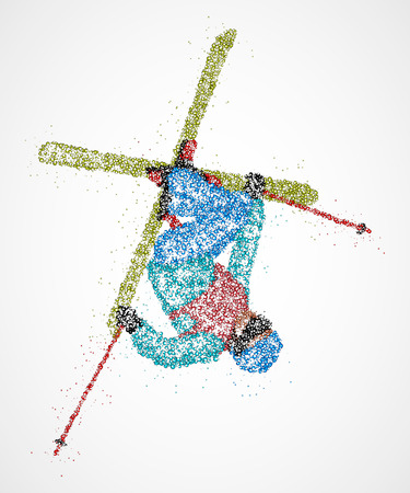 skier jumping: Abstract skier jumping out colored circles. Illustration