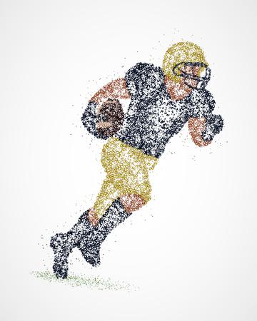 team sports: Resumen jugador de fútbol americano de los círculos de colores.