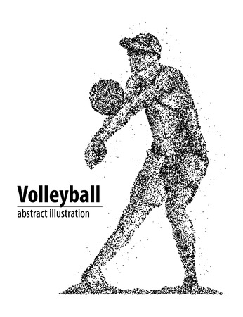 setter: Abstract volleyball player receives the ball from the black circles.
