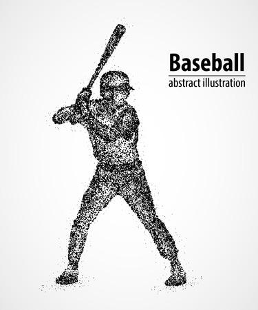 ballpark: Abstract baseball player with a bat in black circles. Illustration