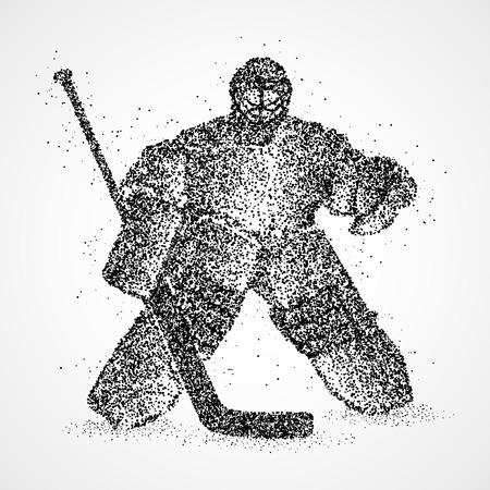 arquero: portero de hockey abstracta de los c�rculos negros Foto de archivo