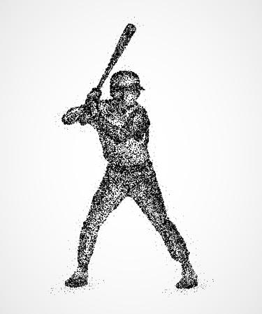 ballpark: Abstract baseball player with a bat in black circles. Stock Photo