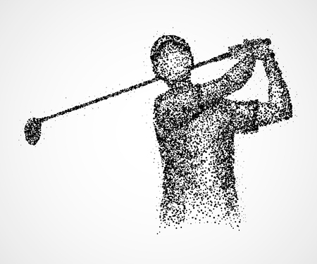 golfer: Abstract golfer with a club of black circles. Stock Photo