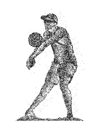 receives: Abstract volleyball player receives the ball from the black circles.