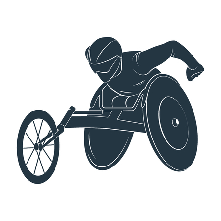 Icon Paralympic wheelchair Rio disabled. Vector Illustration