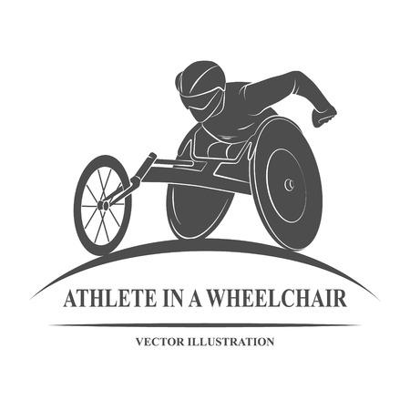 Pictogram atleet op rolstoel racen. Spellen. Vector Illustratie