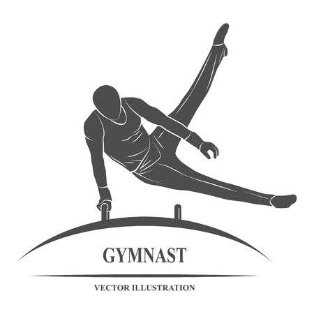 Icon male gymnast performs on horseback. Imagens - 57409163