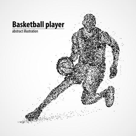 黒い丸の抽象的なバスケット ボール選手。