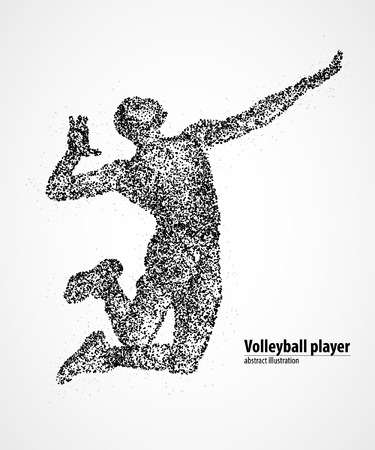 setter: Abstract volleyball jump on the pitch of the black circles.