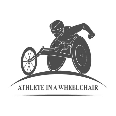 physically: Icon athlete on wheelchair racing. Paralympic Games. Photo illustration. Stock Photo