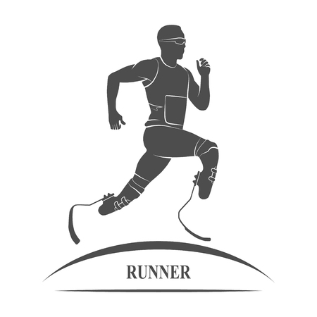 amputation: Gray Icon disabled athlete running. Paralympic Games. Photo illustration. Stock Photo