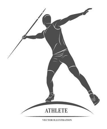 lanzamiento de jabalina: Atleta lanzando jabalina banda icono de lanzas. ilustración