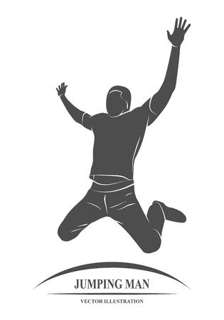 man jumping: Man jumping for joy of victory success. illustration