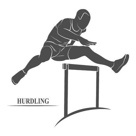hurdles: Man jumping over hurdles icon. Photo illustration.