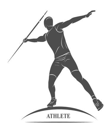 lanzamiento de jabalina: Atleta lanzando jabalina banda icono de lanzas. Foto ilustraci�n.